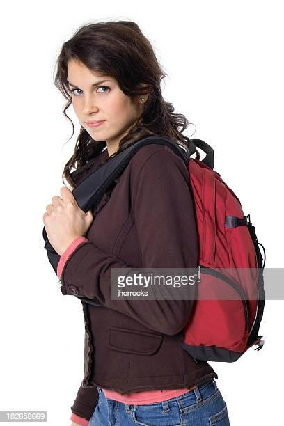 female student with backpack - black hair stock pictures, royalty-free photos & images