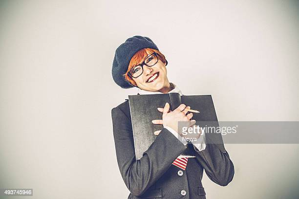 Female student with red hair, nerd girl