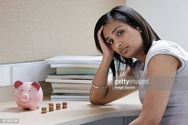 Female student worrying about money