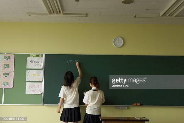 Female students (14-22) at blackboard doing mathematics, rear view