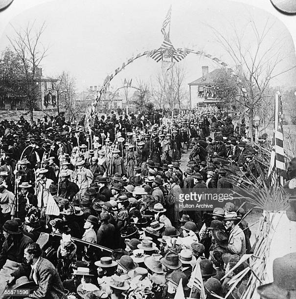 Female students from the Booker T Washington School march in a parade welcoming President McKinley and his wife to town Tuskeegee Alabama circa 1899