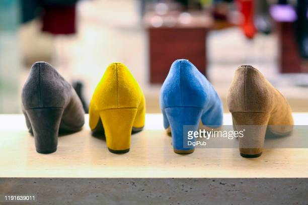female suede shoes color variations - suede shoe stock pictures, royalty-free photos & images