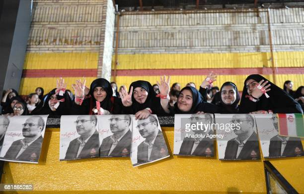 Female supporters of Iranian presidential candidate and current Mayor of Tehran Mohammad Bagher Ghalibah attend Ghalibah's electoral rally ahead of...