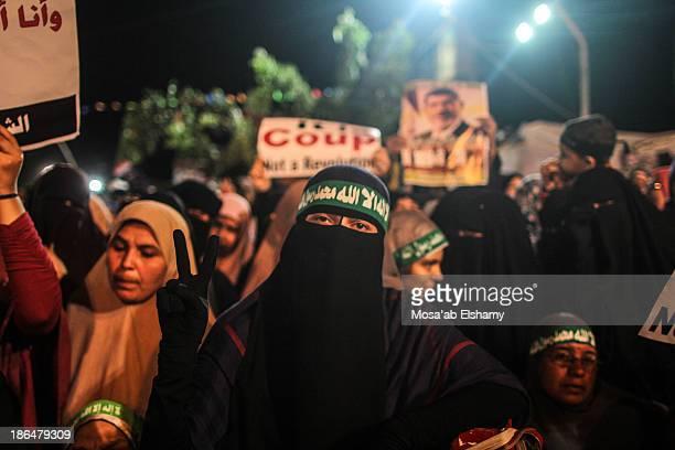 Female supporters of ousted president Mohamed Morsi in Rabaa Adaweya camp. Cairo, Egypt.