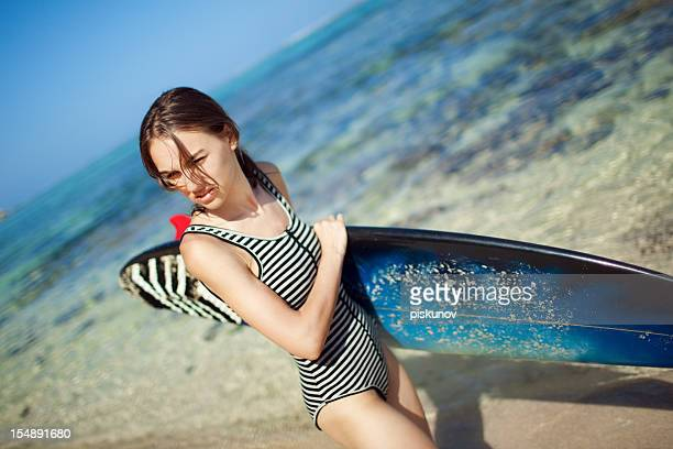 female surfer - topless bikini models stock pictures, royalty-free photos & images