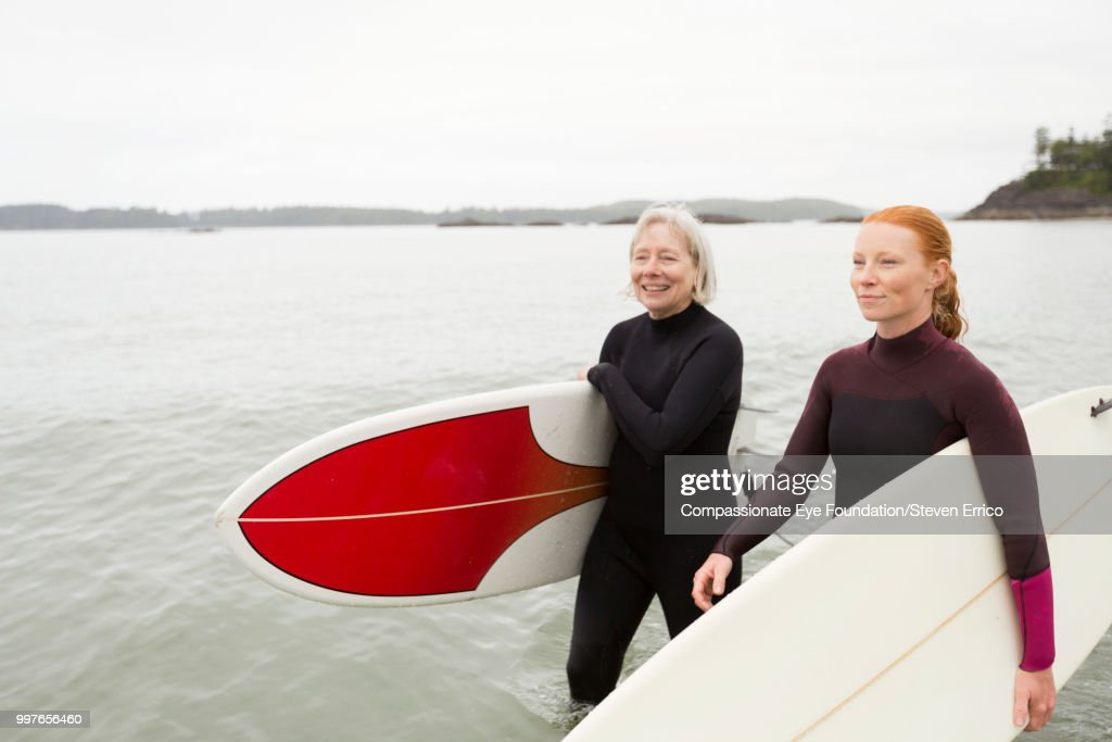 Female surfers carrying boards walking along beach : Stock Photo