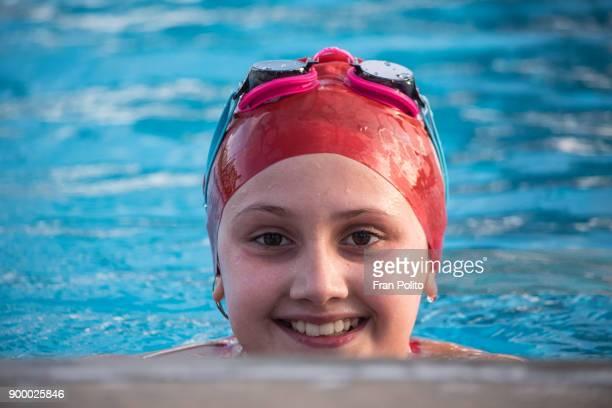 Female swimmer at a swim meet.