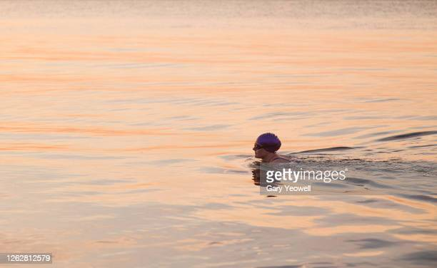 female swimmer in the sea at sunset - kent england stock pictures, royalty-free photos & images