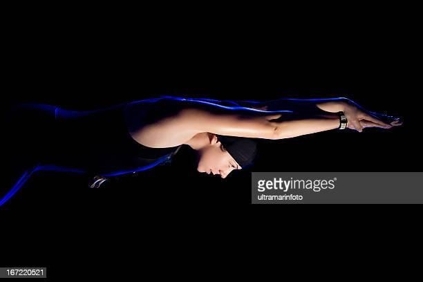 Female swimmer jumping