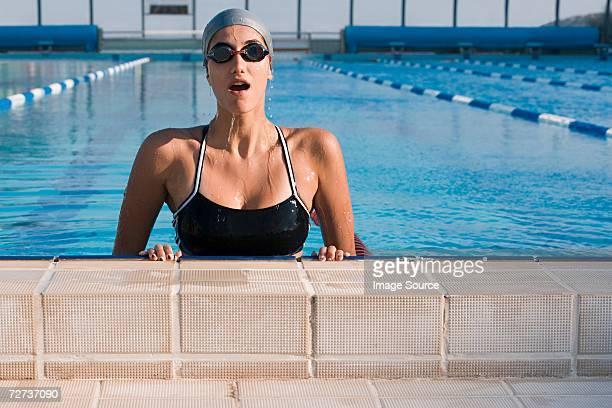 Female swimmer training
