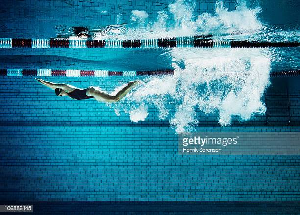 female swimmer underwater in pool - schwimmen stock-fotos und bilder
