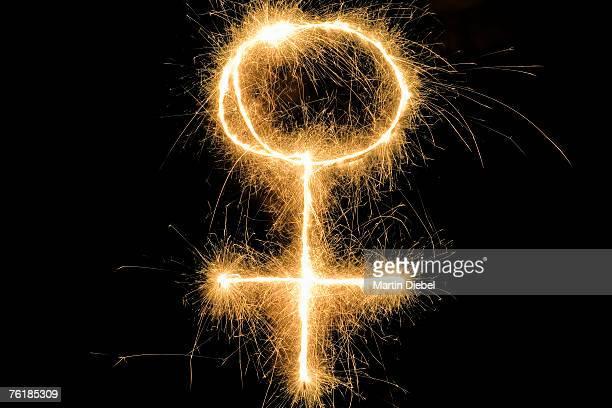 Female Symbol drawn with a sparkler