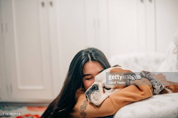 female taking care of her dog - affectionate stock pictures, royalty-free photos & images