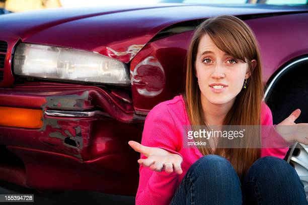 Female Teenage Driver in Denial over Auto Accident