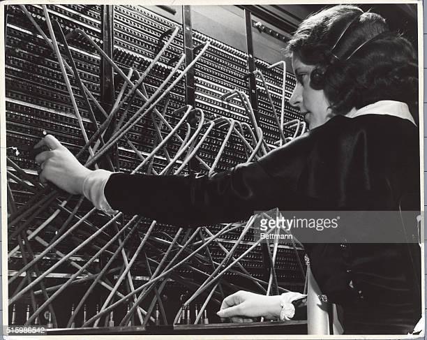 Female telephone operator handling New York calls Undated photograph