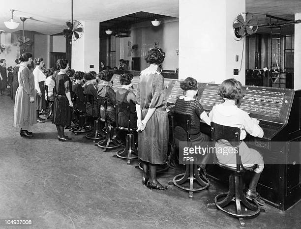 Female telephone operators in the first machine switching telephone central office in New York USA circa 1925
