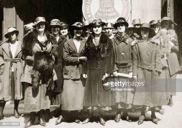 Female telephone operators on strike in Boston Massachusetts USA 1919 One of many strikes that broke out in the United States in 1919 The authorities...