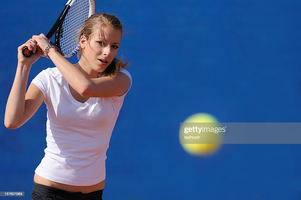 女性テニスプレーヤーに対応 : ストックフォト