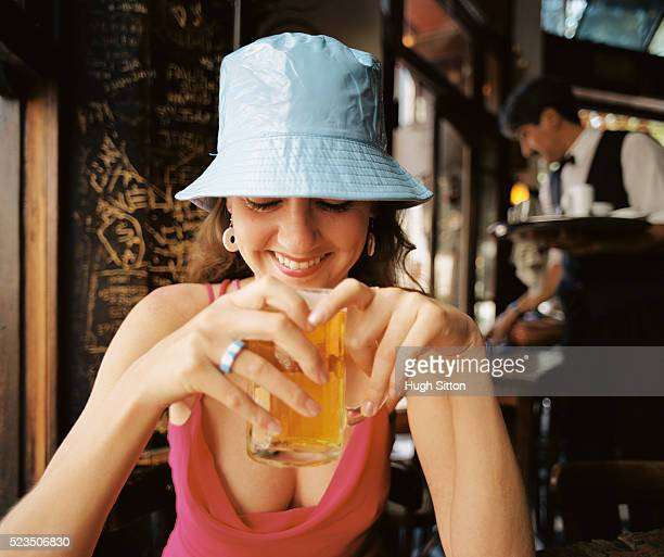 female tourist in bar, san telmo, buenos aires, argentina - hugh sitton stock pictures, royalty-free photos & images