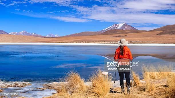 Female tourist looking at Laguna Canapa, Bolivian Altiplano