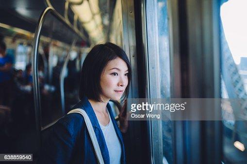 Female tourist on subway