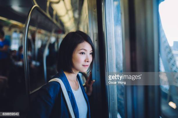 Female tourist on subway
