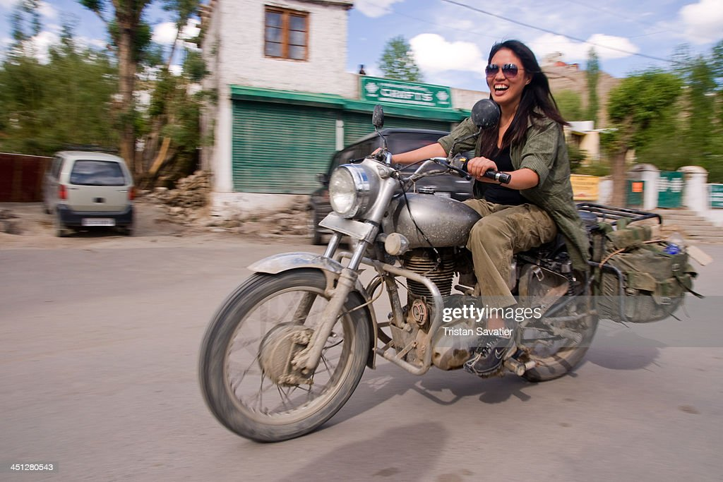 CONTENT] Female tourist riding a motorcycle in Leh Leh was the capital of the Himalayan kingdom of Ladakh now the Leh District in the Indian State of.