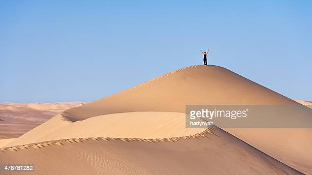 female tourist standing on the top of sandune, sahara desert - female exhibitionist stock photos and pictures