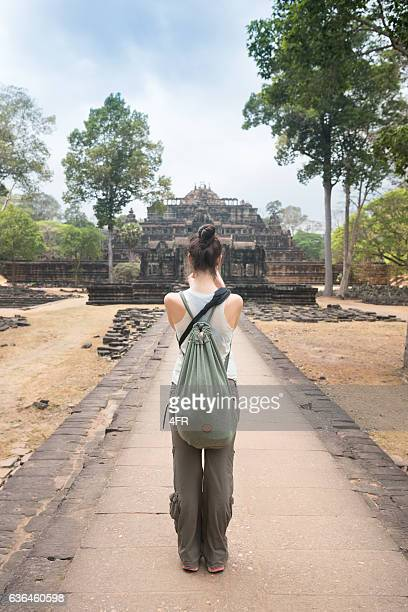 Female Tourist taking Pictures, Angkor Wat, Siem Riep, Cambodia