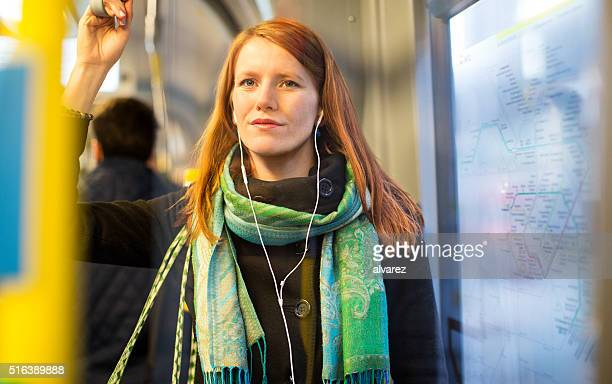 Female tourist traveling by train