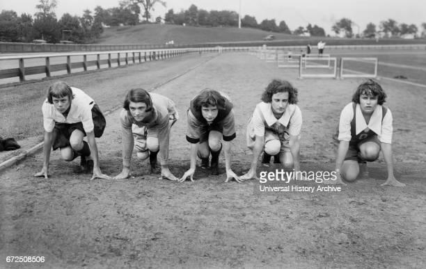 Female Track and Field Athletes, Elizabeth Stine, Camile Sabie, Maybelle Gilliland, Florieda Batson, Janet Snow, Portrait in Newark, New Jersey, USA,...