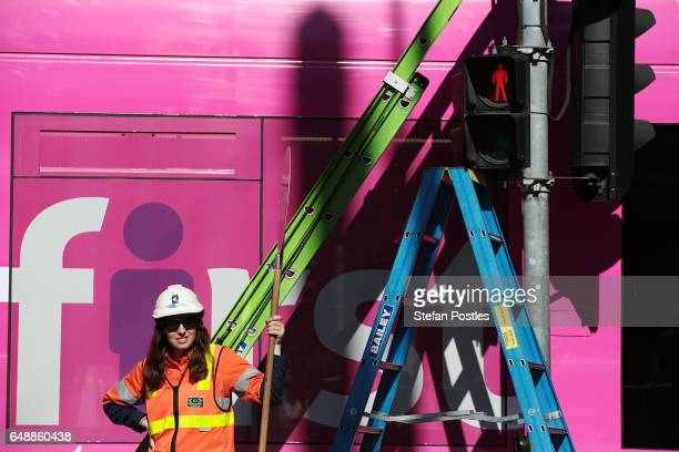 Female traffic light signals are installed at the intersection of Swanston and Flinders streets on March 7 2017 in Melbourne Australia Ten female...