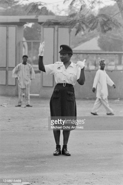 Female traffic police officer in Lagos, Nigeria, January 1962.