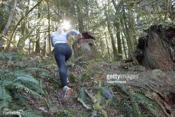 female trail runner ascends through forest, without path - ascent xmedia stock pictures, royalty-free photos & images