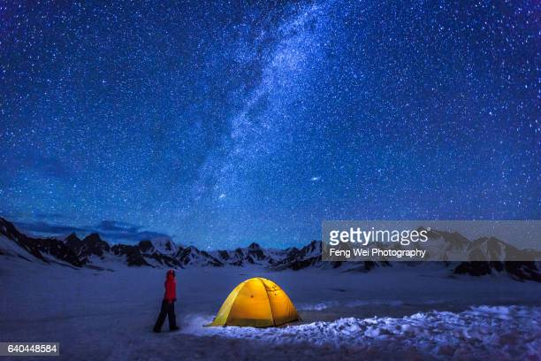 Female Trekker Camping Under Milky Way,  Snow Lake (Lukpe Lawo), Biafo Hispar Snow Lake Trek, Central Karakoram National Park, Gilgit-Baltistan, Pakistan