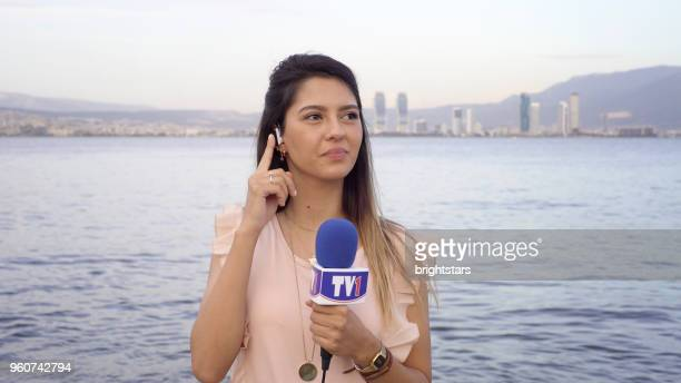 female tv reporter - medium shot stock pictures, royalty-free photos & images