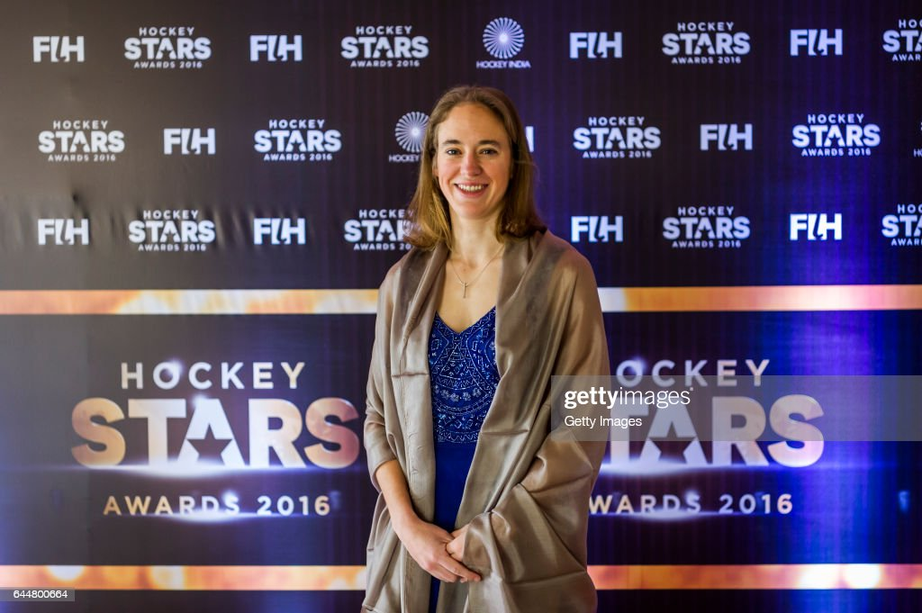 Female Umpiring Award Winner Laurine Delforge of Belgium poses for a picture during the FIH Hockey Stars Awards 2016 at Lalit Hotel on February 23...