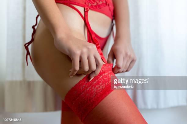 female underwear set - roupa de fetiche imagens e fotografias de stock
