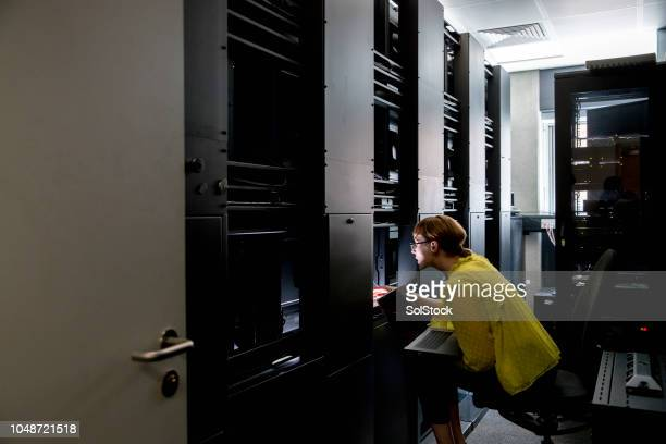 female university computer server technician - server room stock pictures, royalty-free photos & images