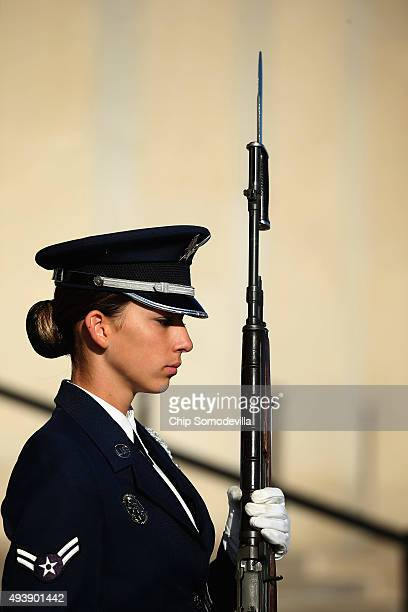 A female US Air Force Airman First Class is part of an honor cordon that welcomed Qatar Minister of State for Defense Affairs Hamad bin Ali Al...
