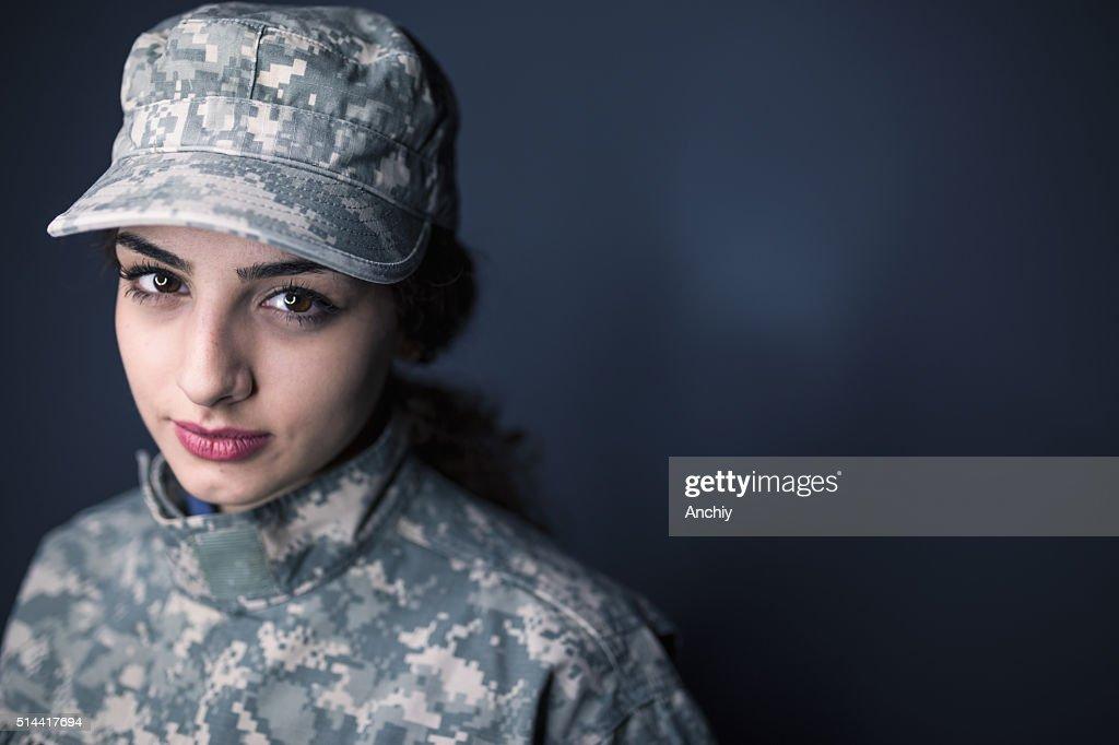 Weibliche US Army Soldier : Stock-Foto