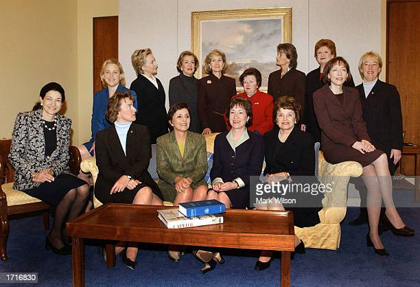 Female US Senators of the 108th Congress pose for a group picture January 9 2003 on Capitol Hill Olympia Snowe Mary Landrieu Blanche Lincoln Barbara...