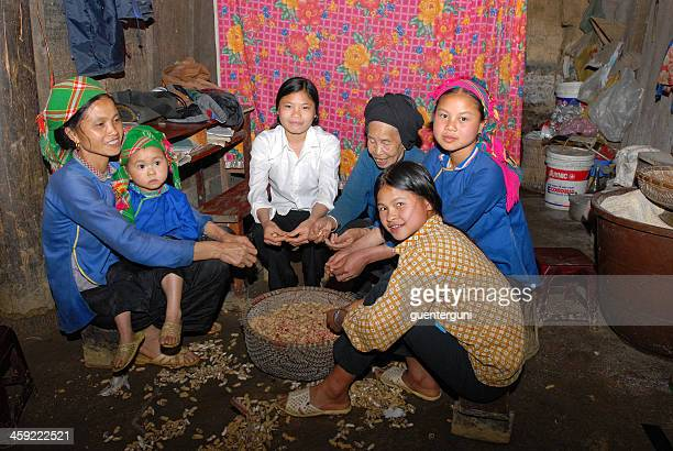 Female vietnamese farmers are shelling peanuts