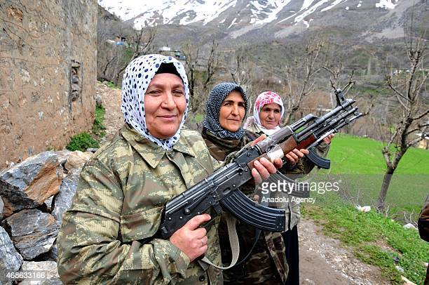 Female village guards gather in support of 'solution process' in Kayabasi village of Sason district Batman in the Southeastern Anatolia Region of...