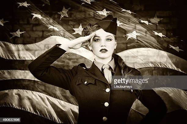 female vintage wwii wac women's army corps saluting - saluting stock pictures, royalty-free photos & images