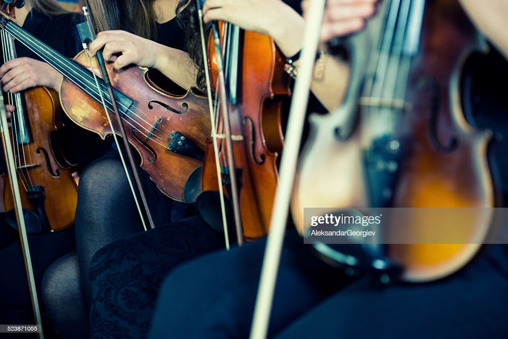 Female Violinists Preparing for Classical Concert : Stock Photo
