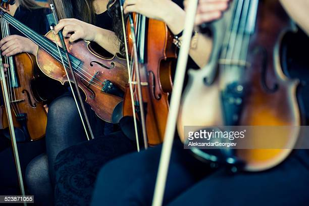 female violinists preparing for classical concert - performance stock pictures, royalty-free photos & images