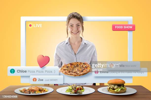 female vlogger preparing food - tutorial stock pictures, royalty-free photos & images
