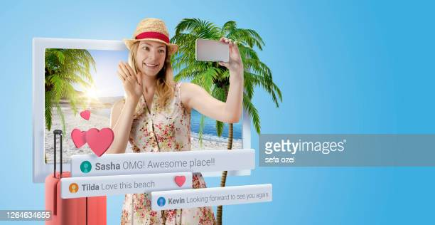 female vlogger travel - like button stock pictures, royalty-free photos & images