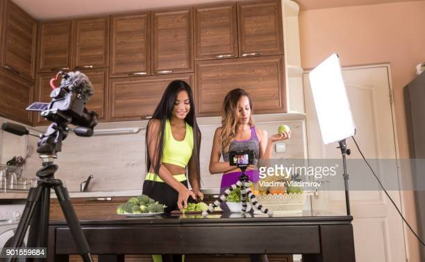 Female vloggers making video for healthy eating